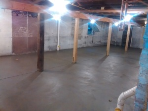 New Basement Floor! The concrete is still wet.