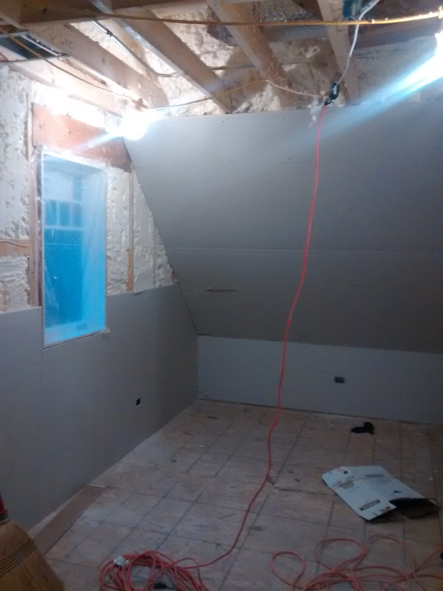 Evan's room with partial drywall
