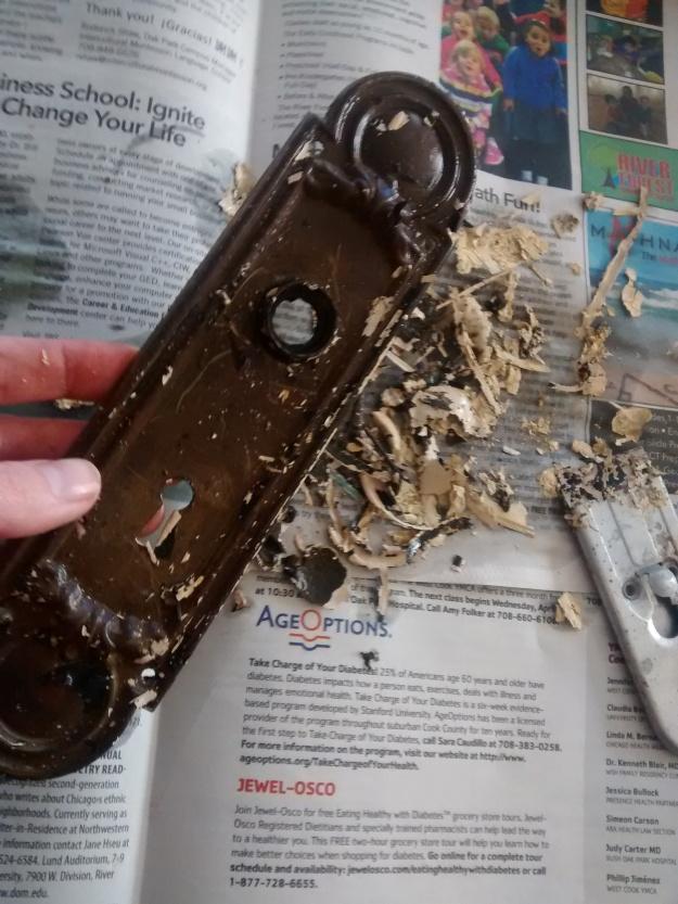 stripped doorknob back plate