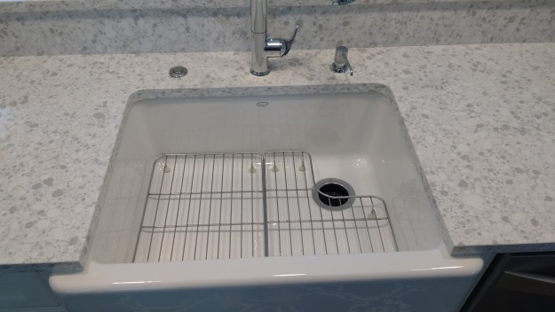 White Kohler Farm Sink with Sink Rack